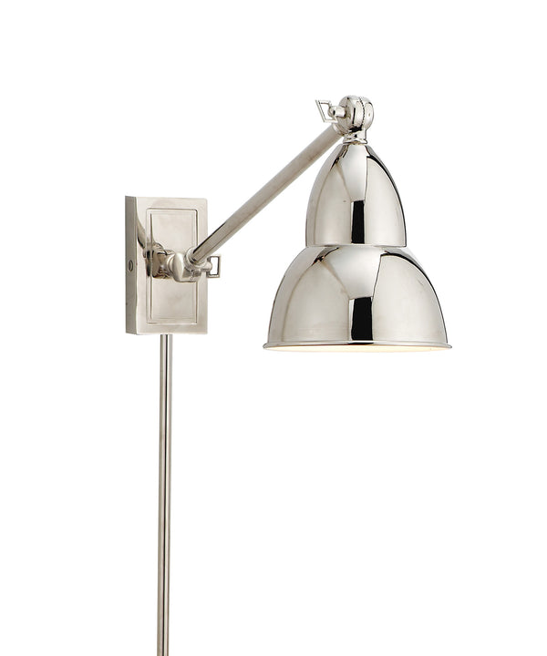 French Library Single Arm Wall Sconce, Polished Nickel