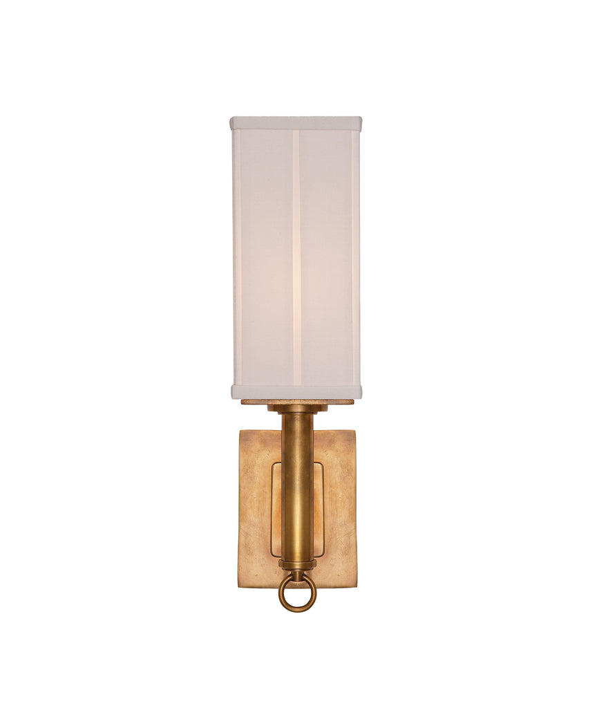 Germain Single Sconce ADA with Silk Pleated Shade, Antique Brass