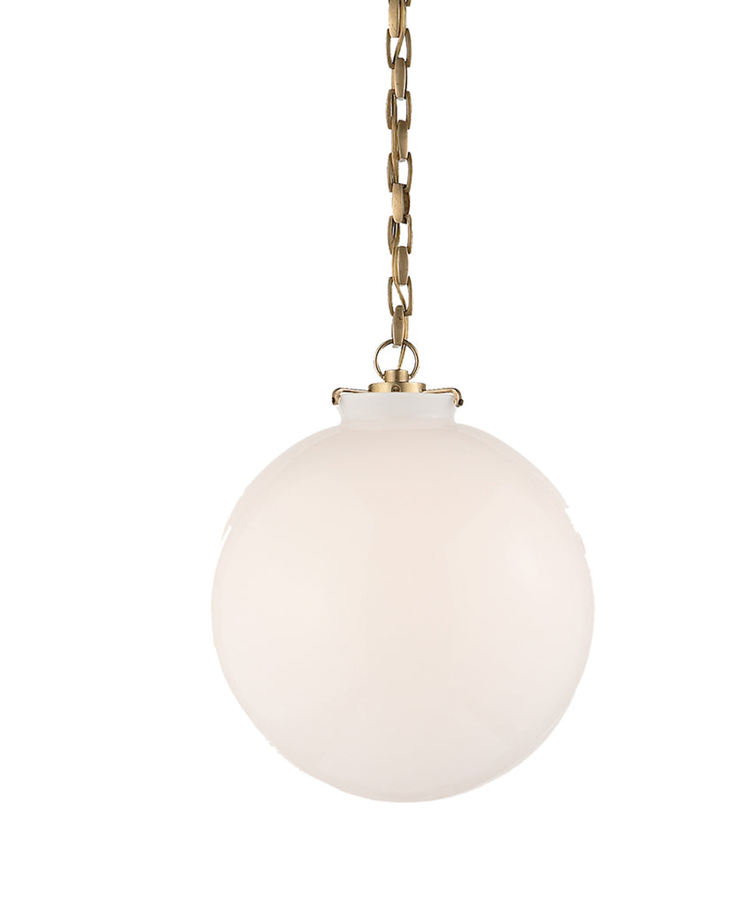 Large katie globe pendant white glass with antique brass high large katie globe pendant white glass with antique brass aloadofball Choice Image