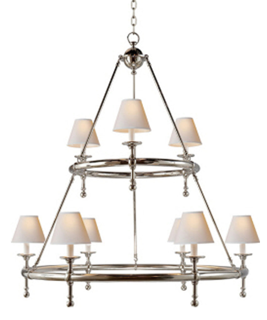 Classic Two-Tier Ring Chandelier, Polished Nickel