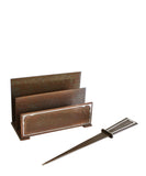 1930s Sterling Silver and Bronze Desk Set, Letter Holder and Letter Opener - High Street Market