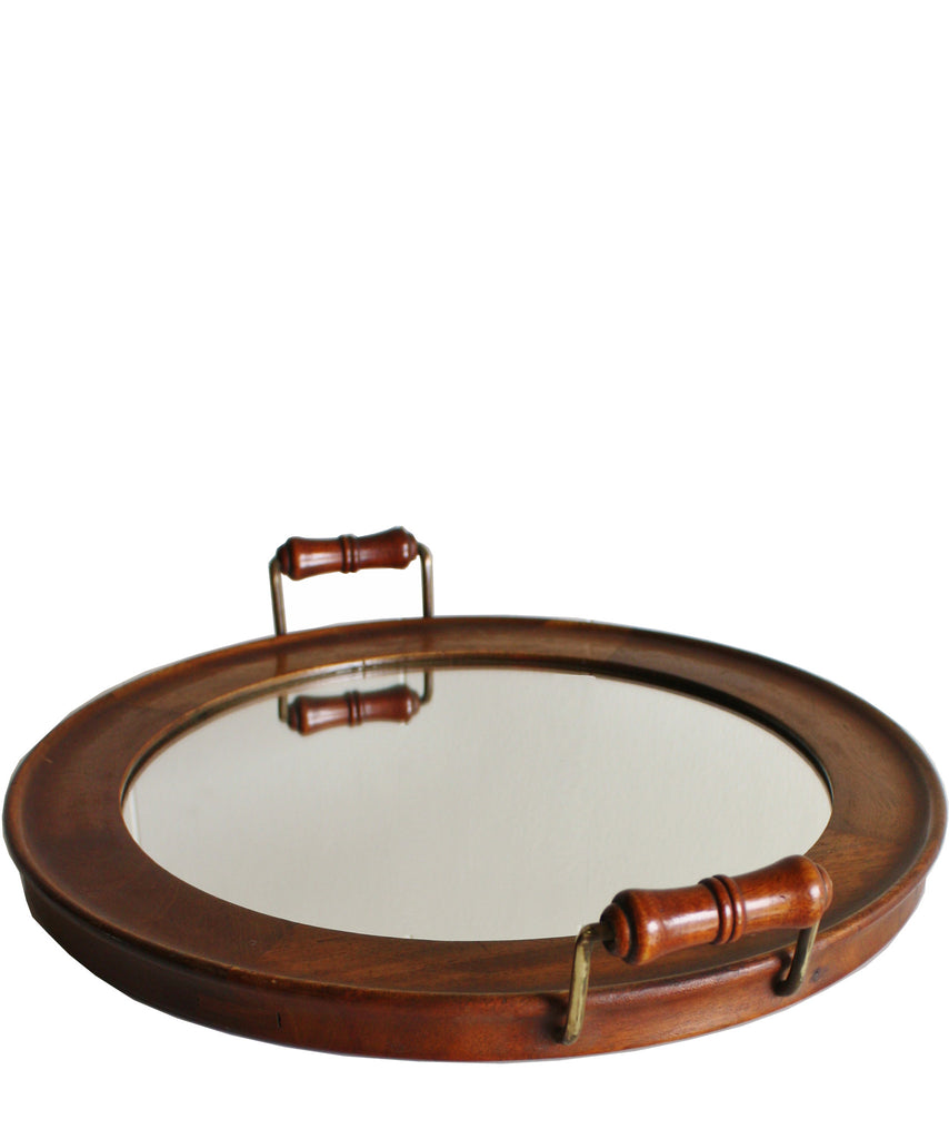 Round Vintage Mirrored Butlers Tray