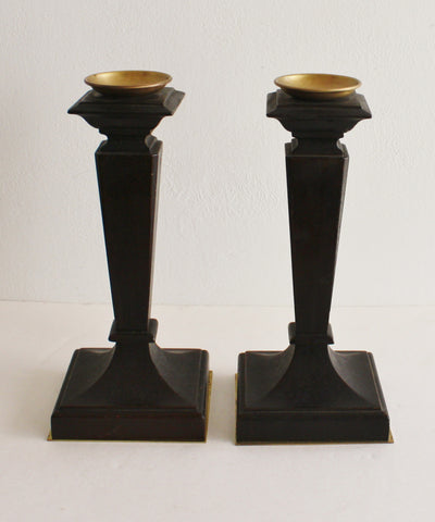 Antique Wood & Brass Candlesticks