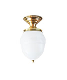 Vintage Flush Mount Ceiling Fixture, White Glass and Solid Brass