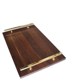 Modern Walnut Serving Tray, Brass