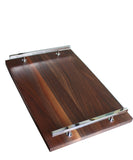Modern Walnut Serving Tray, Silver