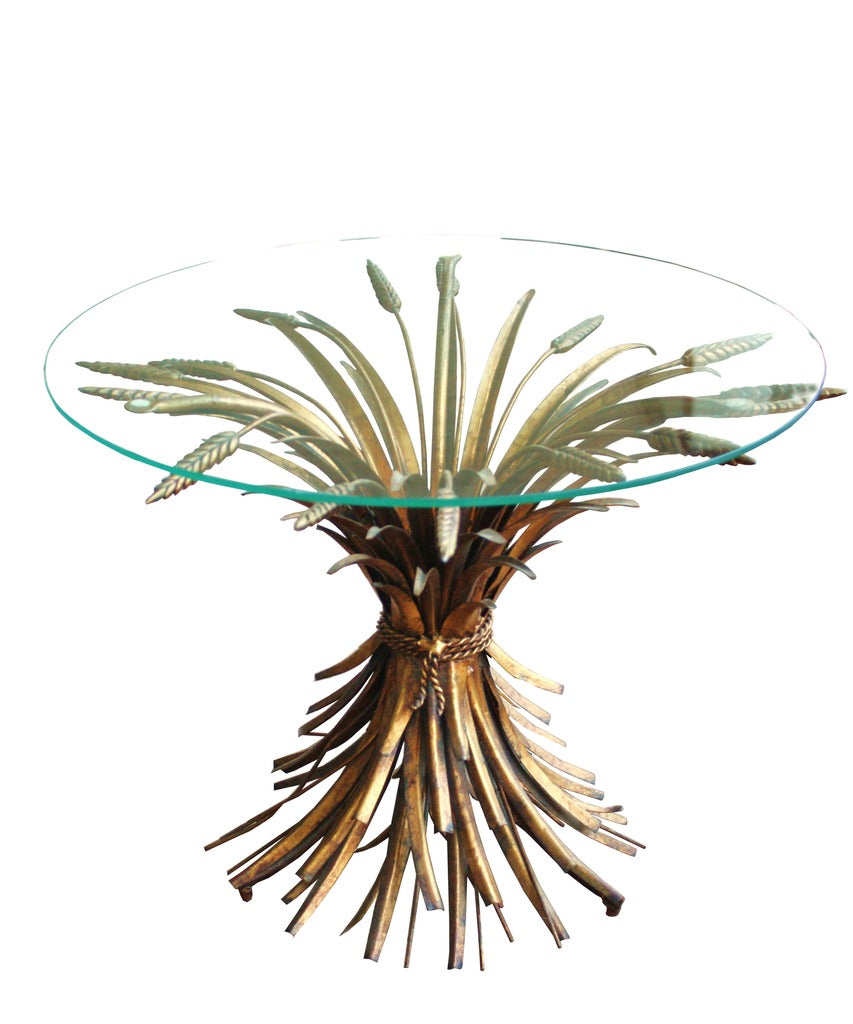 Vintage Italian Wheat Sheaf Side Table