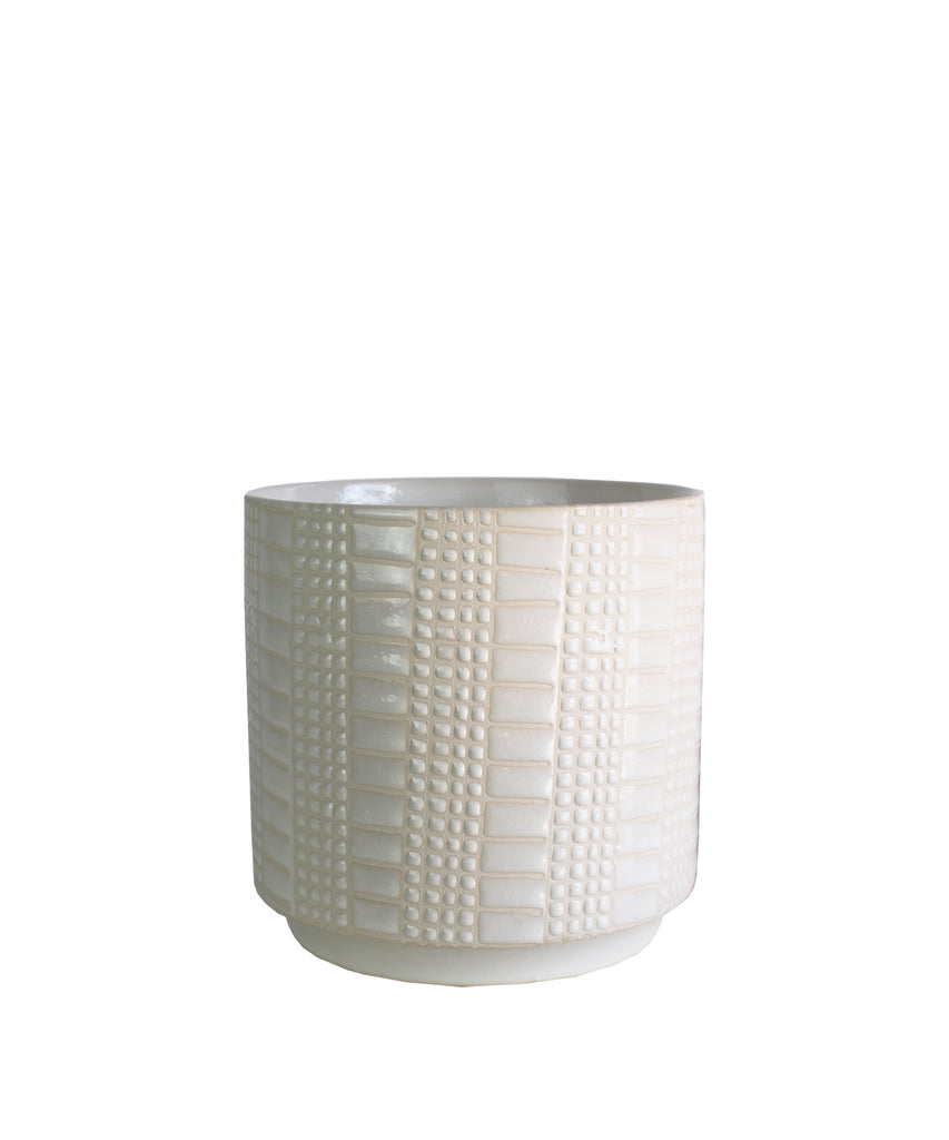 Grid Ceramic Planter, White