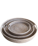 Round Woven Serving Trays, White Wash (3 sizes available)