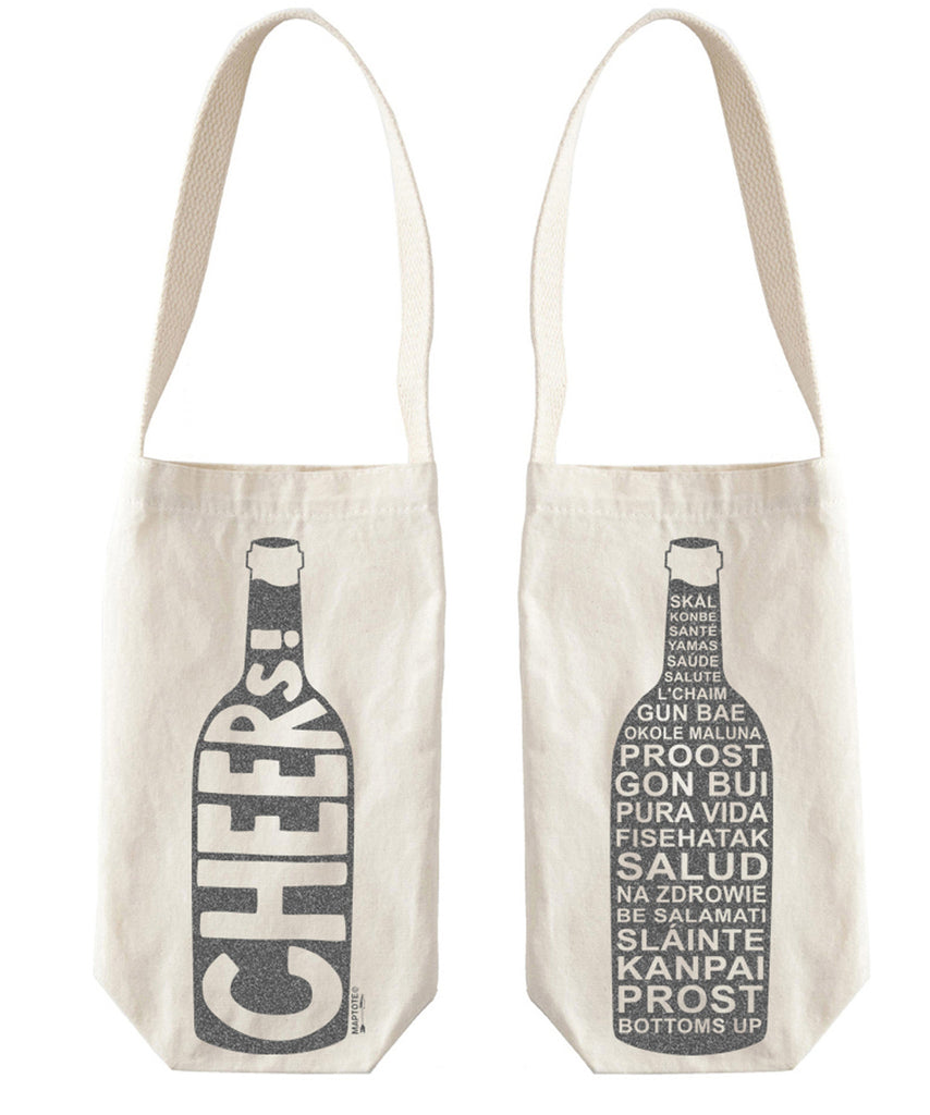 """Cheers"" Wine Tote, Canvas - High Street Market"