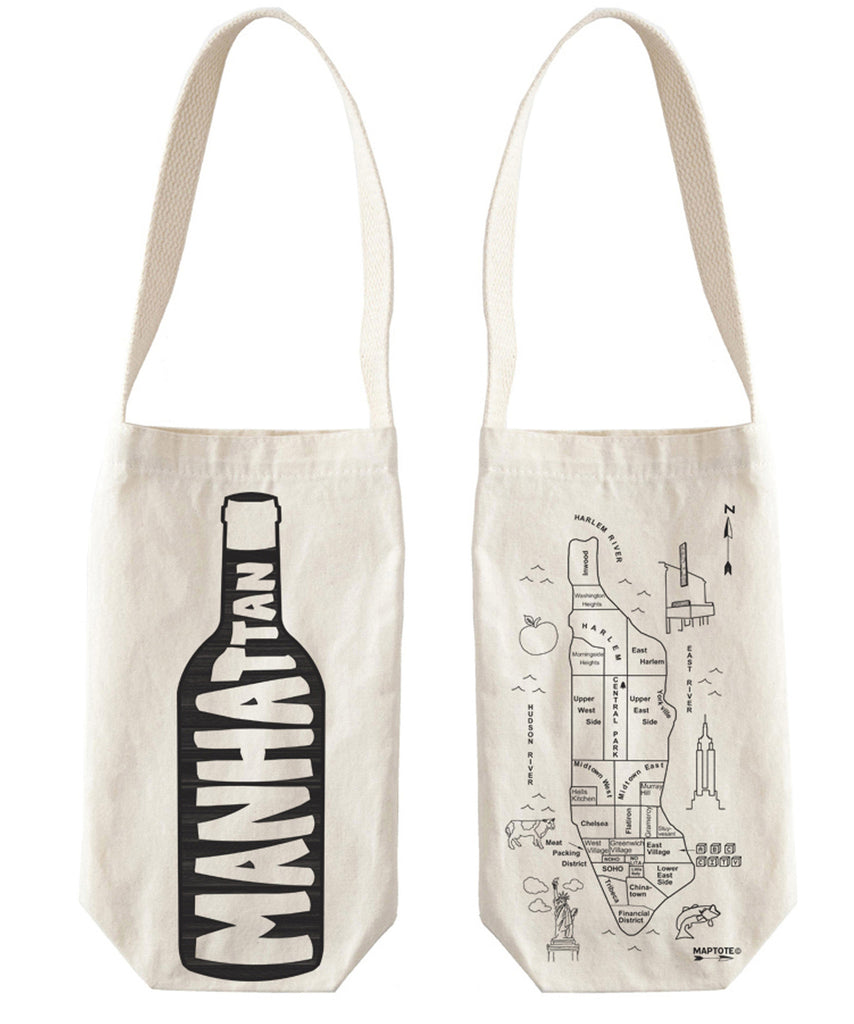 """Manhattan"" Wine Tote, Canvas - High Street Market"