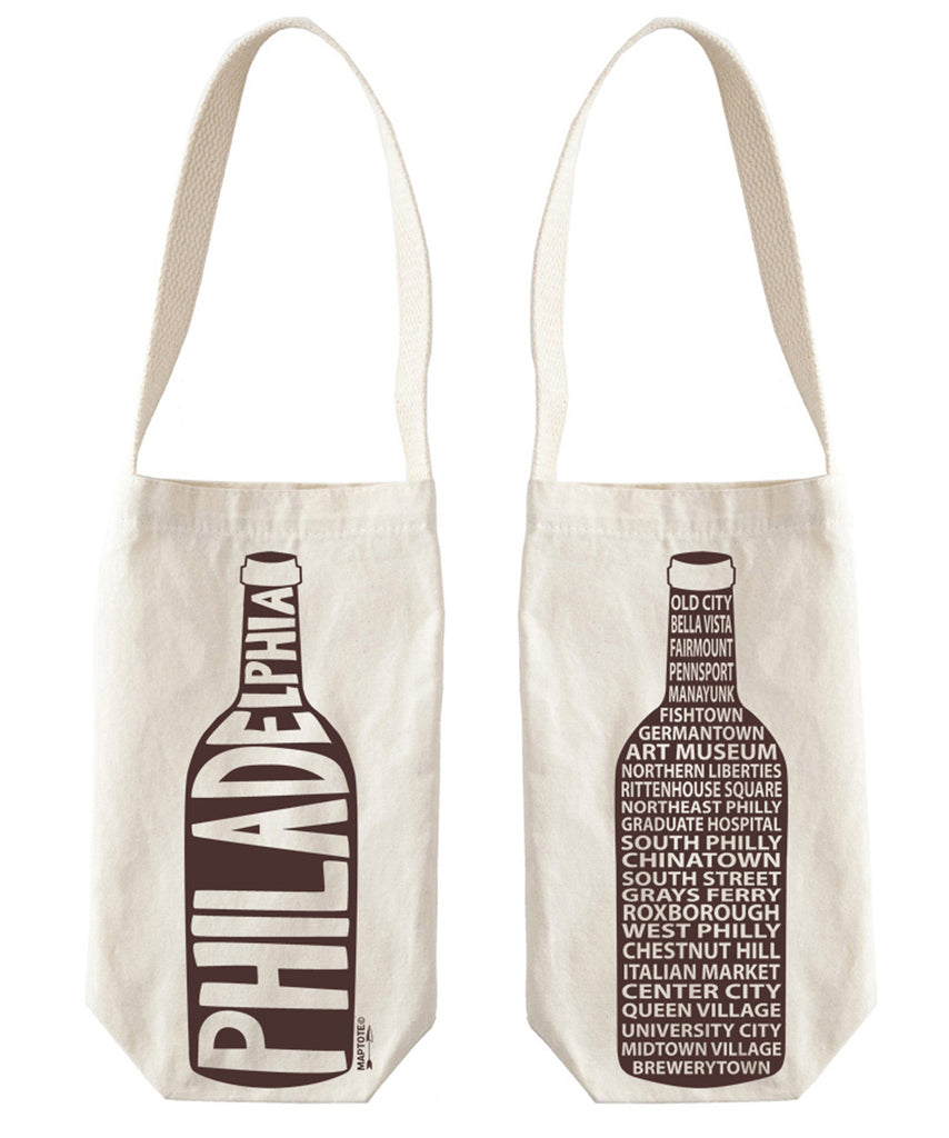 """Philadelphia"" Wine Tote, Canvas - High Street Market"