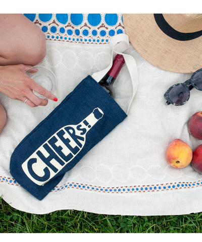 """Cheers"" Wine Tote, Canvas"