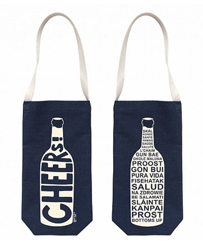 """Cheers"" Wine Tote, Denim"