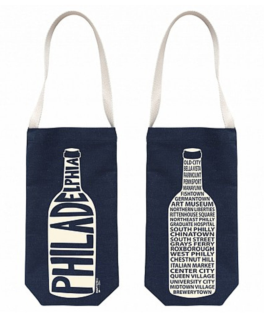 """Philadelphia"" Wine Tote, Denim - High Street Market"