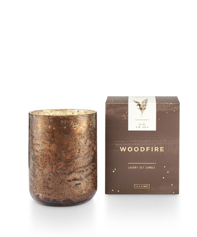 """Woodfire"" Luxe Sanded Mercury Glass Candle"