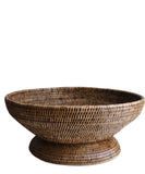 Large Round Pedestal Fruit Bowl, Brown