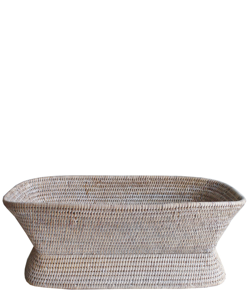 Large Rectangular Pedestal Fruit Bowl, White Wash
