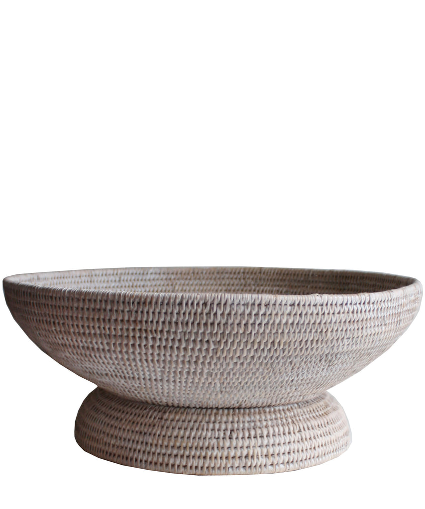 Large Round Pedestal Fruit Bowl, White Wash