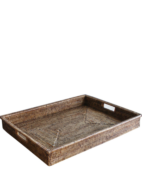 ... Large Woven Rectangular Serving Tray, Antique Brown