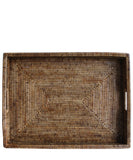 Large Woven Rectangular Serving Tray, Antique Brown
