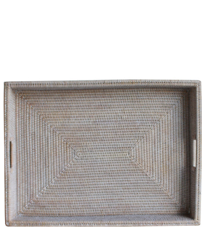 Large Woven Rectangular Serving Tray, White Wash