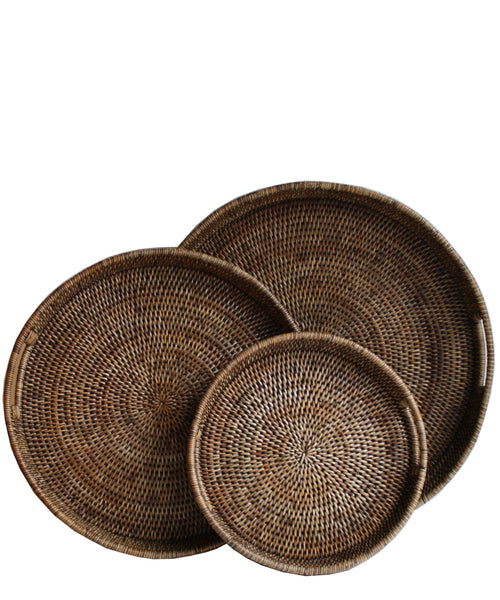 Round Woven Serving Trays 3 Sizes Available High