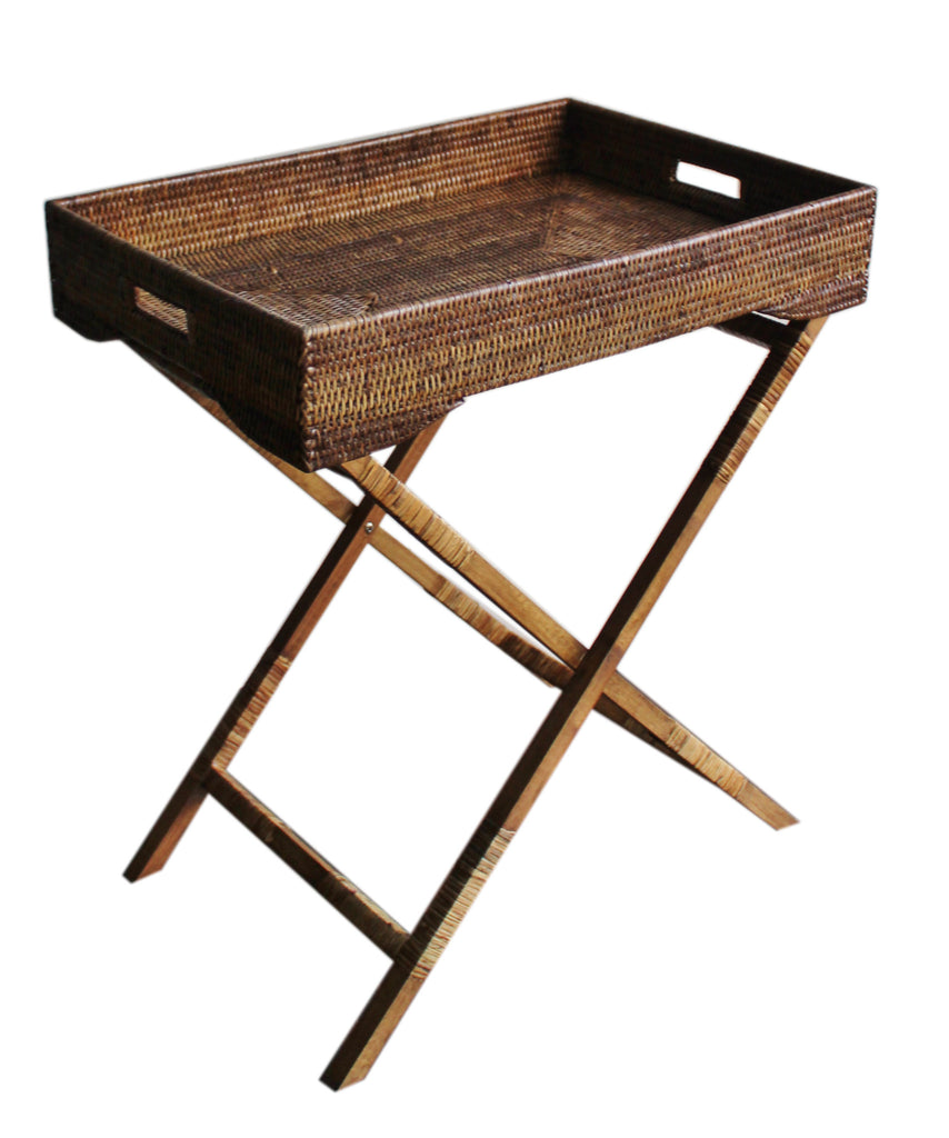 Elegant Woven Tray Table, Antique Brown