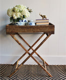 Woven Tray Table, Antique Brown