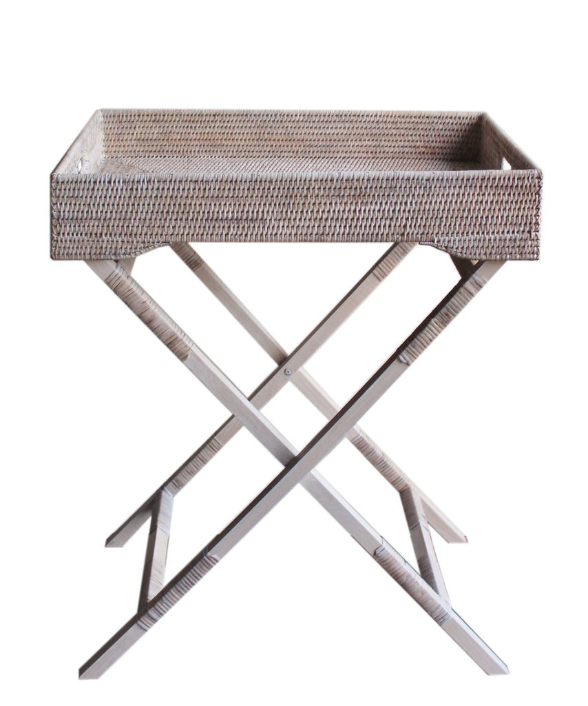 Woven Tray Table, White Wash