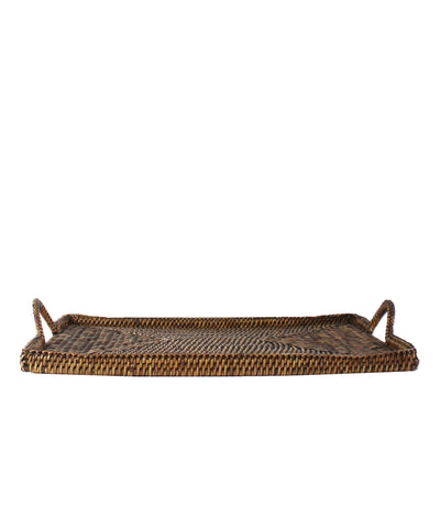 Woven Rectangular Serving Tray with Handles, Antique Brown