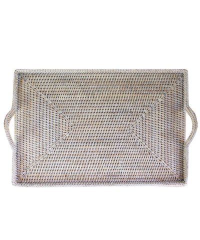 Woven Rectangular Serving Tray with Handles, White Wash