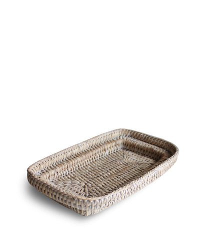 Small Woven Tray, White Wash