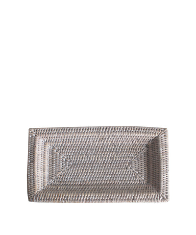 Small Woven Rectangular Tray, White Wash