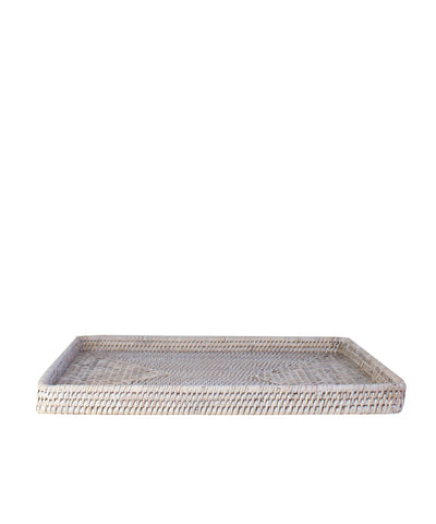 Woven Rectangular Serving Tray, White Wash