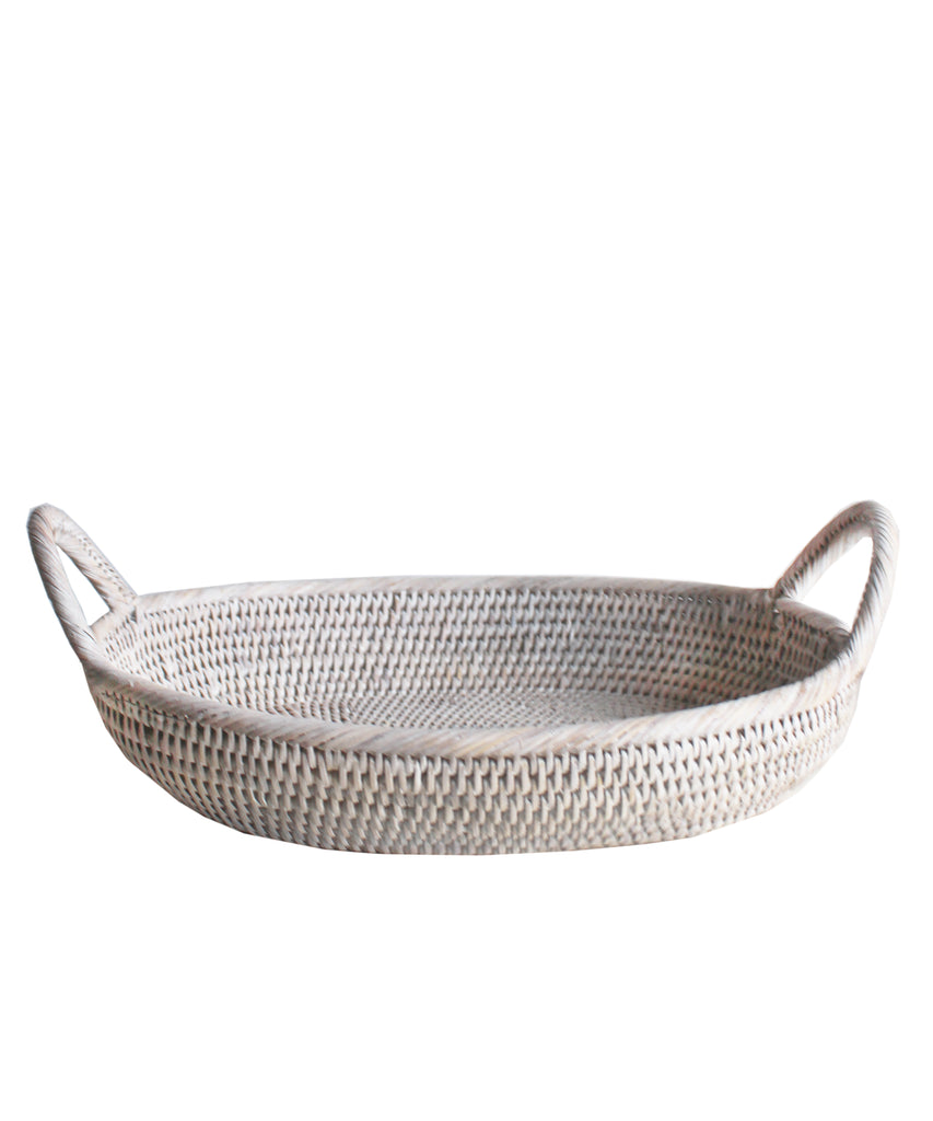 Oval Rattan Tray, White Wash