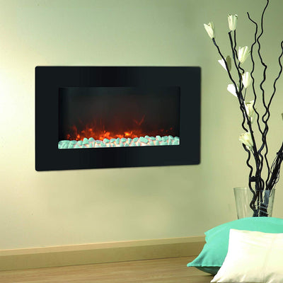 Cambridge CAM30WMEF-1BLK Callisto 30 In. Wall-Mount Electronic Fireplace with Flat Panel and Crystal Rocks Heaters|Fireplace My Home Climate