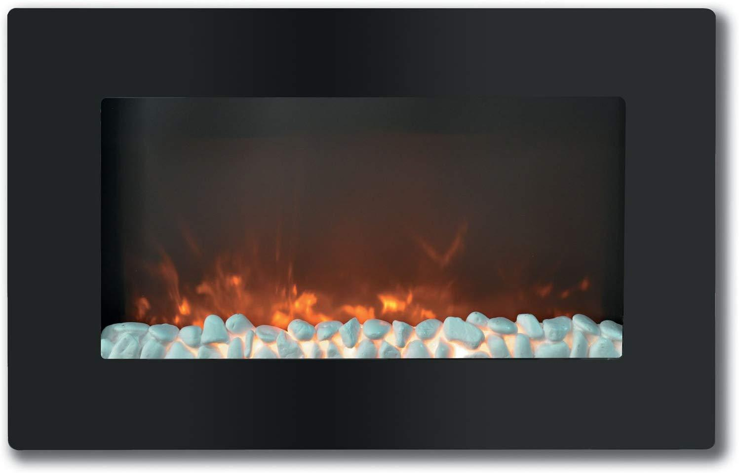 Cambridge CAM30WMEF-1BLK Callisto 30 In. Wall-Mount Electronic Fireplace with Flat Panel and Crystal Rocks Heaters|Fireplace My Home Climate Black