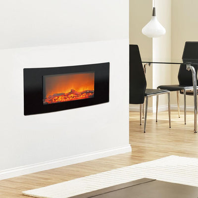 Cambridge CAM35WMEF-2BLK 1350W Callisto 35 in. Wall-Mount Electric Fireplace with Curved-Panel, Black Heaters|Fireplaces Cambridge