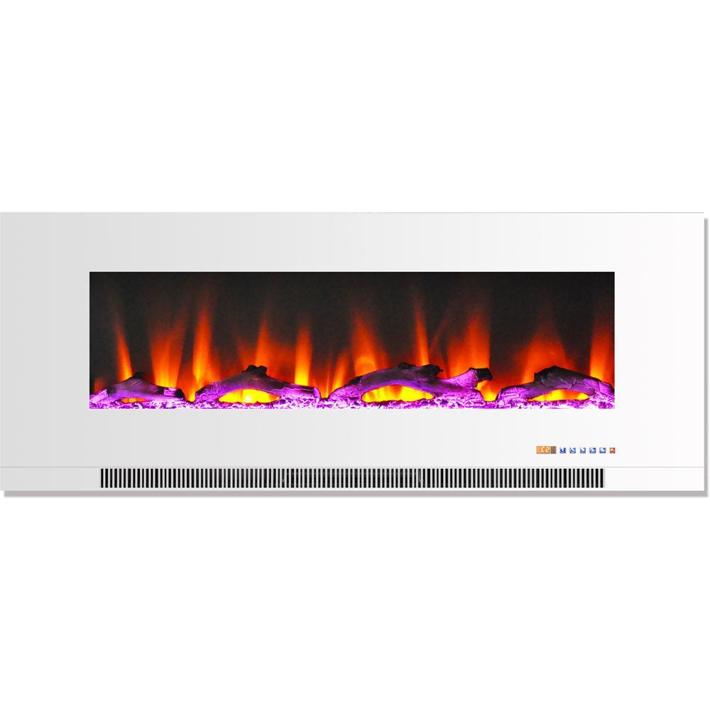 Cambridge CAM50WMEF-2WHT 1350W 50 In. Wall-Mount Electric Fireplace with Driftwood Log, White Heaters|Fireplaces Cambridge