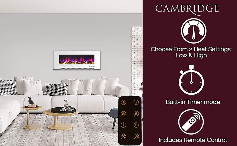 Cambridge CAM50WMEF-2WHT 50 In. Wall-Mount Electric Fireplace, White Heaters|Fireplace Cambridge