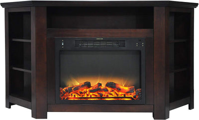 Cambridge CAM5630-1MAHLG2 Stratford 56 In. Electric Corner Fireplace with Enhanced Fireplace Display, Mahogany Heaters|Fireplace My Home Climate