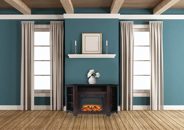 Cambridge CAM5630-1MAHLG2 Stratford 56 In. Electric Corner Fireplace with Enhanced Fireplace Display, Mahogany Heaters|Fireplace My Home Climate Mahogany