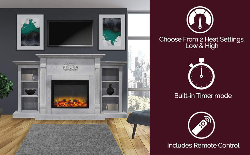 Cambridge CAM7233-1WHTLG2 Sanoma 72 in. Electric Fireplace in White with Built-in Bookshelves and an Enhanced Log Display My Home Climate White