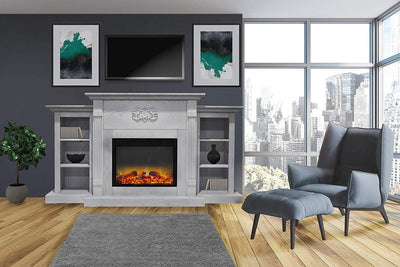 Cambridge CAM7233-1WHTLG2 1500W Sanoma 72 in. Electric Fireplace with Built-in Bookshelf, White Heaters|Fireplaces Cambridge
