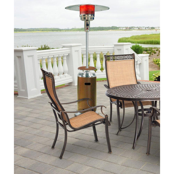 Hanover HAN002BRSS 41000 BTU Umbrella Propane Gas Patio Heater, Bronze/Stainless Steel Heaters|Patio Heaters Hanover