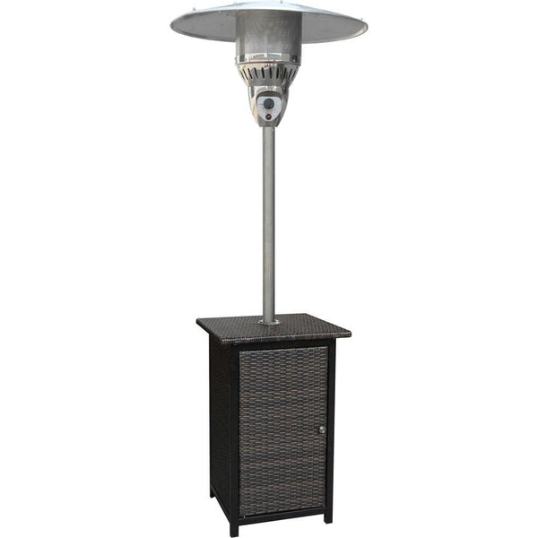 Hanover HAN020BRWCK 41000 BTU Square Wicker Propane Patio Heater, Brown/Stainless Steel Heaters|Patio Heaters Hanover Brown
