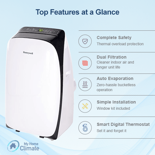 Honeywell 12000 BTU 3-in-1 Portable Air Conditioner with 80 Pint  Dehumidifier (Contempo Series)