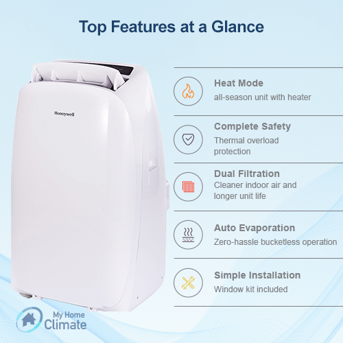 Honeywell 14000 BTU 4-in-1 Portable Air Conditioner with Heat Pump (Contempo Series) Portable Air Conditioner Honeywell