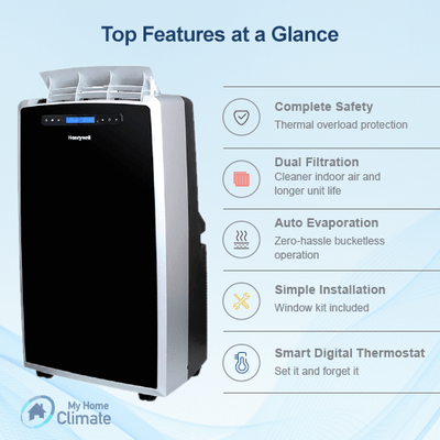Honeywell 14000 BTU Portable Air Conditioner with 95 Pint Dehumidifier (Classic Series) Portable Air Conditioner My Home Climate